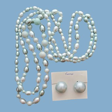 Two Necklaces with Matching Earrings 1960s