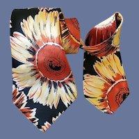 Wide Vintage Necktie Super Sunflower Print
