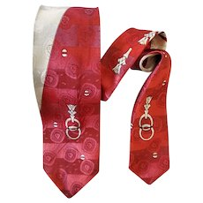 1960s Narrow Necktie Damask with Gray Brick Red