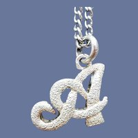 ".925 Sterling ""A"" Initial Necklace 24 Inch Chain"