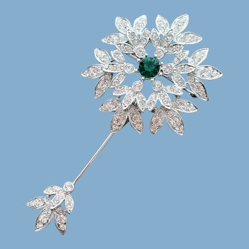Rhinestone Stick Pin Brooch and Pendant Signed