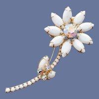 Juliana Brooch Rhinestone Daisy Flower Mint