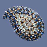 1960s Rhinestone Brooch Blue Paisley Design