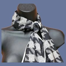 Vera Neumann Scarf Black and White Tweed Print