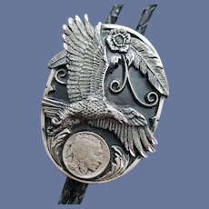 Diamond Cut Bolo Tie Eagle Faux Indian Head Coin