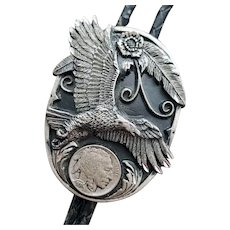 Diamond Cut Bolo Tie Eagle Faux Indian Head Coin