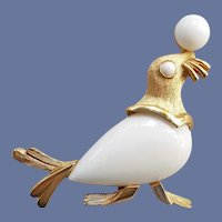 1960s Trifari Seal Brooch White Lucite Belly