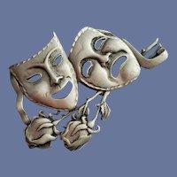 Large Comedy Tragedy Masks Brooch J.J.