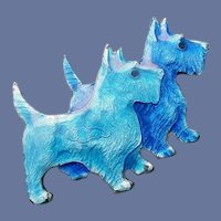 Guilloche Enamel Brooch Blue Scottish Terriers