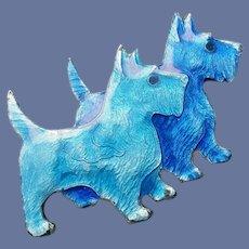Guilloche Enamel Brooch Blue Scottish Terriers