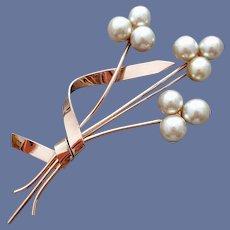 1940s Sterling Vermeil Coro Brooch Faux Pearls