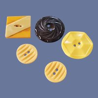 4 Bakelite Buttons Inlay Carved Gold 1940s