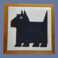 Scottish Terrier Tile Trivet in Wood Frame MIJ