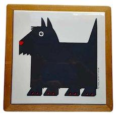 Scottish Terrier Tile Trivet in Wood Frame MIJ