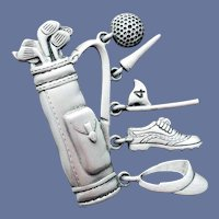 Golfing Bag Brooch and Extras J.J. Jonette