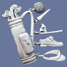 Golfing Bag Brooch and Extras J.J. Jonette