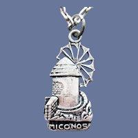Mykonos Greek Island Windmill Necklace