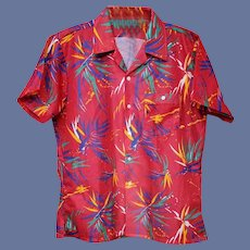 1980s Men's Shirt Wild Print Short Sleeve Size Large