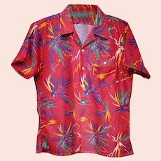 1980s Men's Shirt Wild Print Short Sleeve Size Large