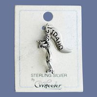 Idaho Sterling Silver Charm Lady Baseball Player Mint