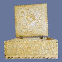 Antique Pyrograph Box Art Nouveau Gibson Girl