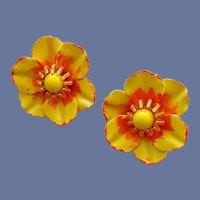 1960s Enamel Earrings Vivid Yellow and Orange