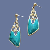 Pierced Earrings Teal Pulled Feather Enamel Rich Color