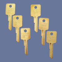 Six Brass Key Blanks 1970s Ace Keys Crafts