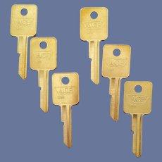 Six Brass Key Blanks 1970s Ace Keys Crafts