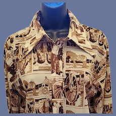 1970s Levi Strauss Scenic Shirt Miners Horses Large
