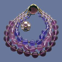 Faceted Bead Lucite Necklace and Earrings Purples