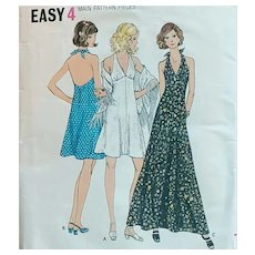 Halter Dress Sewing Pattern With Fringed Shawl Bust 36