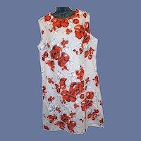 1970s Sleeveless Shift Dress Size XXL Red Roses