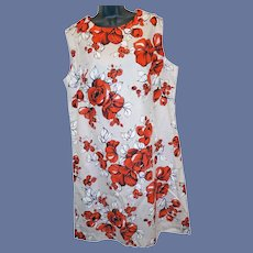 1970s Sleeveless Shift Dress Size XXL Red Roses