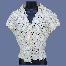 1950s Brussels Lace Blouse Bust 34 Medium