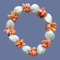 Bracelet Coral Shell Beads and Faux Clam Shells