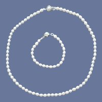 Real Pearl Necklace and Bracelet Demi Parure