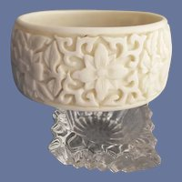 Wide Lucite Bangle Bracelet Exotic White Flowers