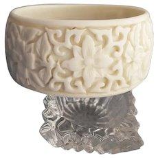 Wide Lucite Bangle Bracelet Exotic White Flowers