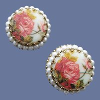 1960s Clip Earrings Pink Roses Faux Pearls