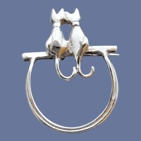 Sterling Silver Eyeglass Holder Brooch With Cats