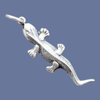 Lizard or Gecko Bracelet Charm in Sterling Silver