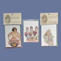 3 Die-Cut Embossed Greeting Cards Victorian Prints 1978