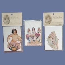 3 Die-Cut Embossed Greeting Cards Victorian Prints 1978