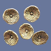 5 Sturdy Metal Buttons Gold Tone Flowers Self Shank