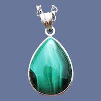 Vintage Malachite Necklace Elegant Teardrop Pendant
