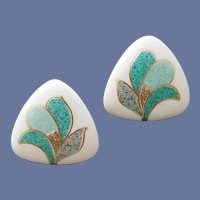 Porcelain Pierced Earrings Turquoise Gold Trim