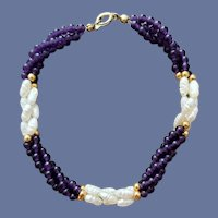 Real Pearl Amethyst Bead Torsade Twist Bracelet