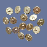 16 Gold Tone Metal Buttons Round with Hearts