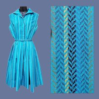 Beautiful Vintage 1960s Dress Teal Cotton Size Large Bust 38